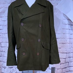New Perry Ellis Double Breasted Olive Pea Coat